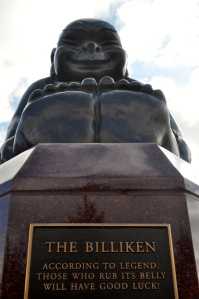 The Billiken continues to smile after 103 years of bringing luck to SLU.